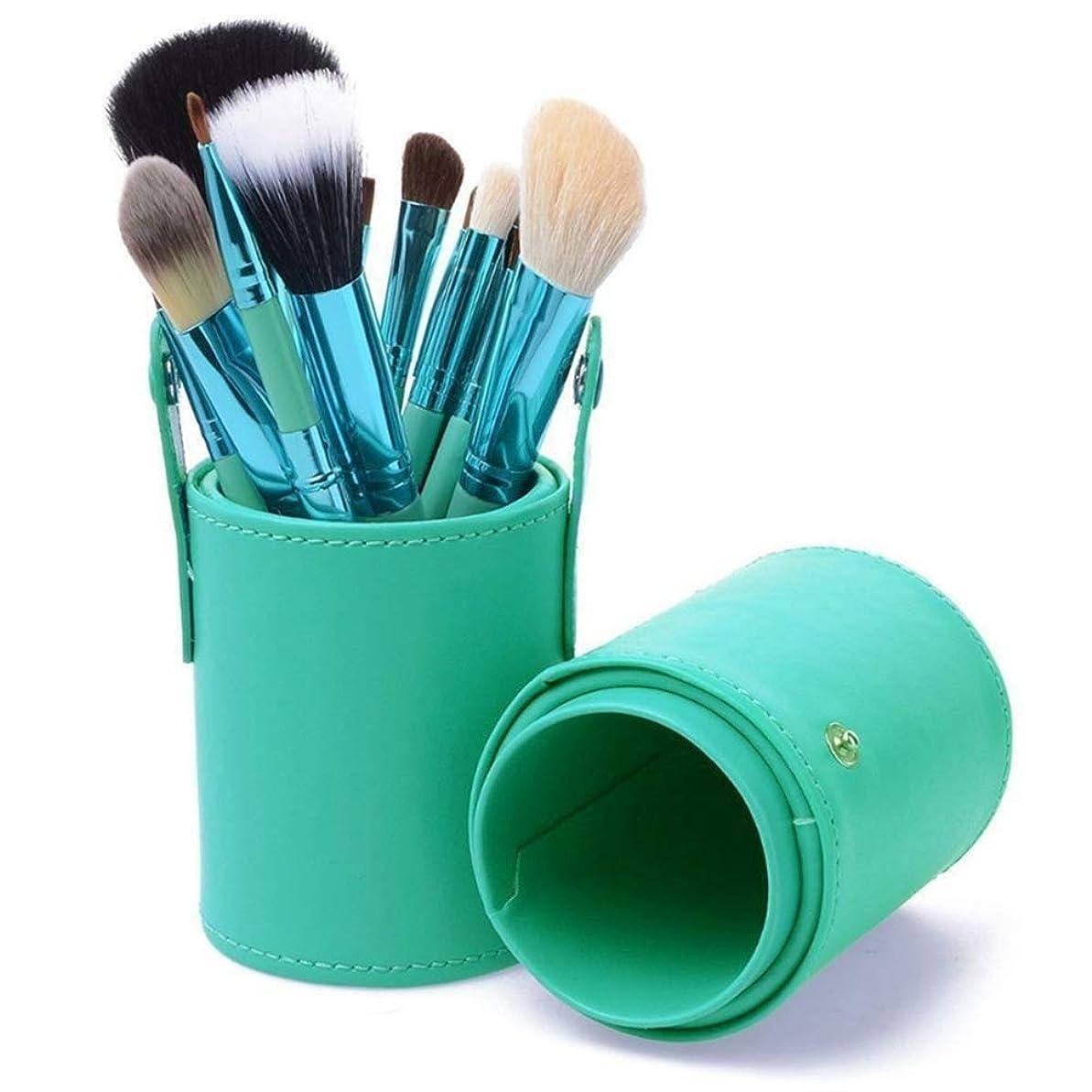 ペパーミント覚醒なしでLT 化粧ブラシセット12ピースプロフェッショナルメイクアップブラシフルセットフェイシャルアイシャドウパウダーブラシpuトラベルケース、ギフトボックス、ピンク (Color : Green)
