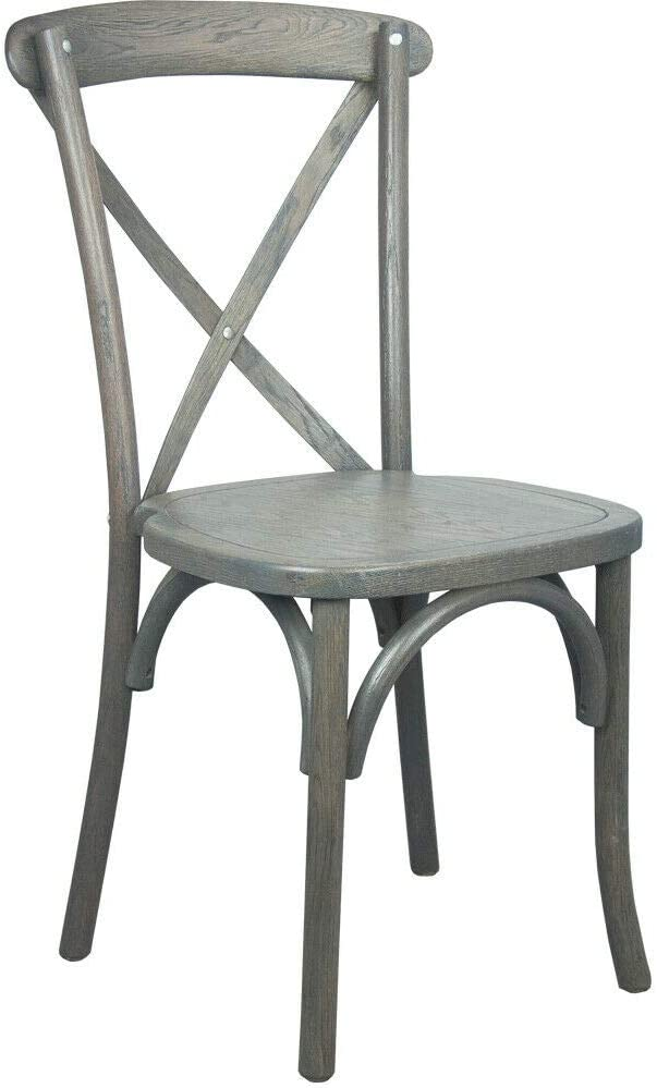 Bistro Max 89% OFF Style Cross Back Gray Wedding Chair Stackable Wood trend rank Dining