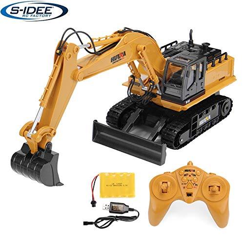 s-idee® Excavadora de cadena 1510 con mando a distancia, con batería y cargador Huina 1510 18186