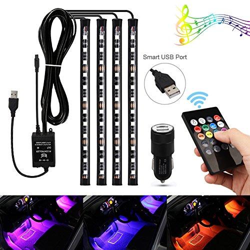 Aiguozer®, strisce LED per illuminazione d'atmosfera interni auto, 48 LED RGB, ricarica tramite porta USB con adattatore per auto, controllo con telecomando a infrarossi o tramite la musica e la voce