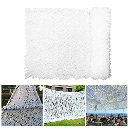 Hunting Camouflage Net, Camping Sun Shelter, Garden Sunscreen Net 5 * 6m, White Camouflage Net 3 * 4m Garden Awning Net Awning to Strengthen Military Awning Caravan Greenhouse Plant Pergola Fireproof