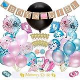 Dsaren 103 Stück Gender Reveal Party Supplies Junge oder Mädchen Baby Deko Banner Ballon Rosa und Blaue Konfetti Baby Shower Foto Requisiten Cupcake Toppers
