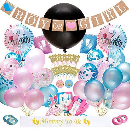 Dsaren 103 Pcs Artículos de Fiesta de Gender Reveal Niño o Niña Sorpresa Banner Confeti Globos de Látex Photo Booth Props Cupcake Toppers Baby Shower Decorations