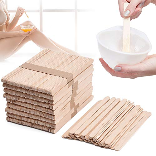 Noverlife 500PCS Wax Applicator Sticks, Large Popsicle Sticks, Wooden Craft Eyebrow Waxing Sticks Salon Wax Spatula for Hair Removal