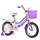HAMHIN Bicicleta de Ciclismo Ligera para niños de 12/14/16/18 Pulgadas, Regalo para niños, Bicicleta de Estudiante para niños y niñas,Púrpura,18inch