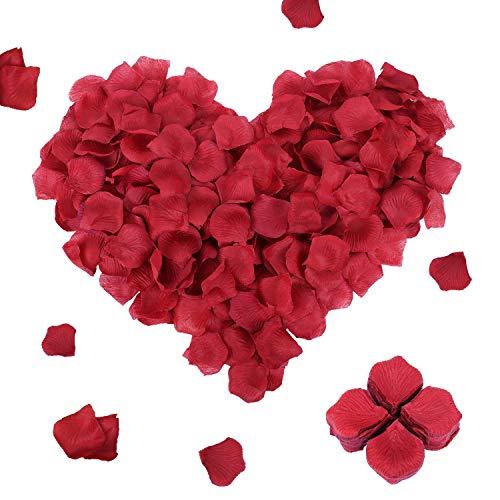 FORMIZON 3000 Piezas Pétalos de Rosa, Petalos Artificiales Confeti de Rosas, Hermosos Rojo Flores de Rose para el Día de San Valentín, Bodas, Fiestas