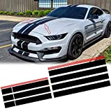 Xotic Tech JDM Vinyl Stripe Sticker Sporty Racing Graphics Decal Trim for Ford Mustang 2015-2020 Hood Roof Rear Trunk Decoration, Glossy Black with Red Side