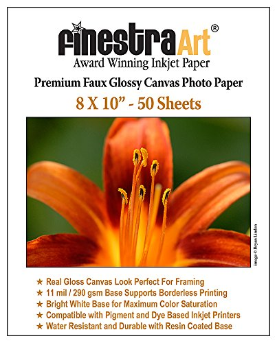 8' X 10' Premium Faux Glossy Canvas Inkjet Photo Paper - 50 Sheets