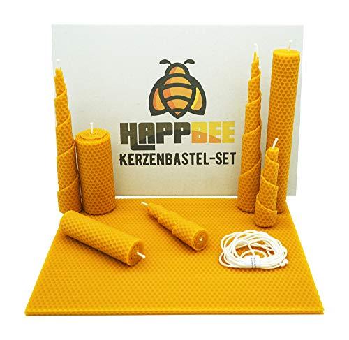 HappBee Bienenwachs-Kerzen Bastel-Set mit Bienenwachsplatten und Docht für honiggelbe, duftende selbstgemachte Bienenwachskerzen   DIY-Geschenk-Set