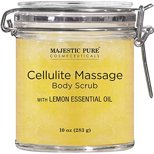 MAJESTIC PURE Cellulite Massage Body Scrub Infused with Lemon and Grapefruit Essential Oils - Exfoliates, Soothes, Relaxes, and Tightens Skin - 10 oz