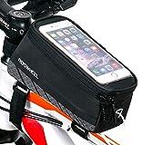 SIVENKE Fahrradrahmen Tasche Lenkertasche Oberrohrtasche Fahrrad Rahmentasche Fahrradtasche MTB mit klaren PVC-Schirm für Handy bis zu 5,5 Zoll