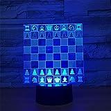 Lámparas de ilusión óptica 3D LED cerca de la luz, 7 coloresToque/control remoto Art,USB/AA batería,Lámpara de decoración de mesa de escritorio de dormitorio para niños adultos, tablero de ajedrez