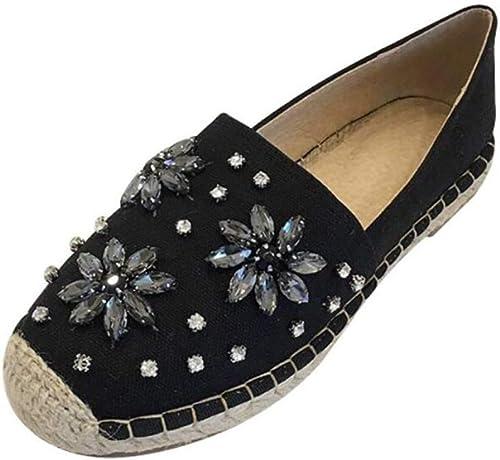 YOPAIYA Alpargatas,Moda mujer Damas negro zapatos Alpargata Lona Rhinestone Flor Hemps Pescador Pisos zapatos