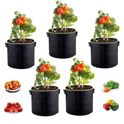 5 Saco Macetas Tela Bolsas de Cultivo, Reutilizable Bolsa No Tejida de Cultivo de Plantas con Asas para Papas, Flores, Verduras, Tomates y Fresas (7gallon 35*28cm)