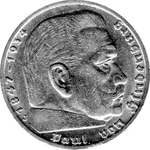 Münze 5 Reichsmark Deutschland, 1936 J, Hindenburg (Jäger: 367) Vorzüglich