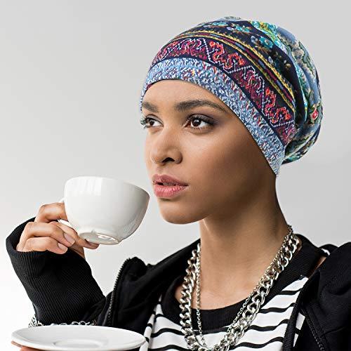 6 Pieces Women's Cotton Soft Slouchy Caps Beanie Hip-Hop Stretchy Sleep Cap Beanie Caps