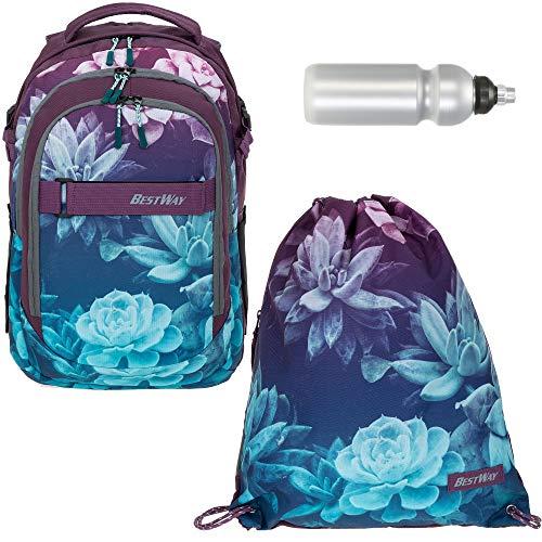 Schulrucksack 3 Teile Set Bestway Evolution Packer Jungen Mädchen Rucksack mit Sportbeutel und Trinkflasche (Dark Flower 5821)