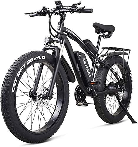 Bici elettriche Biciclette, Biciclette per adulti Elettriche Offroad Bikes Fat Bike 26 4.0 Pneumatico Ebike 1000W 48V Mountain mountain bike con sedile posteriore e batteria al litio rimovibile