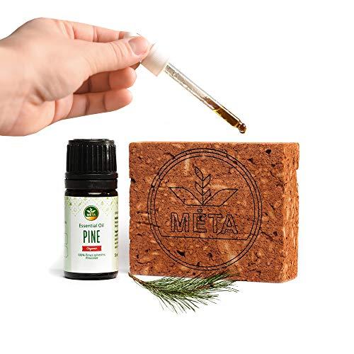 Bio ätherisches Kiefernadelöl mit Aroma Diffuser aus Ton - naturreines Pinus Sylvestris Öl für Aromatherapie oder Sauna - reines Kiefernöl / Pine Oil für Duftlampe