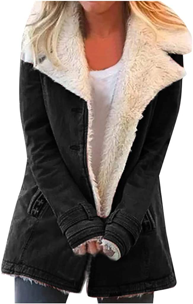 Winter Coats for Women,Winter Warm Coats for Women Plus Size Hooded Jackets Parkas Solid Thicken Jacket Long Cotton Pea Coat