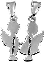 2 ciondolini uniti a forma di 2 angioletti, bimbo e bimba, che si dividono, in argento 925 rodiato. Incisione gratuita. Or...