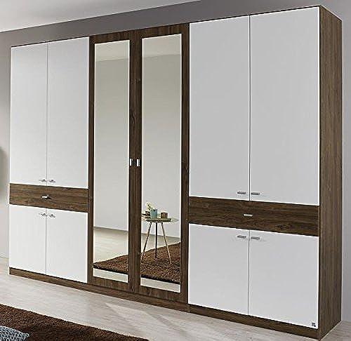 Kleiderschrank eiche sterling   Weiß10-türig B 271 cm Jugendzimmer Schlafzimmer Schrank Drehtürenschrank Spiegeltüren W heschrank