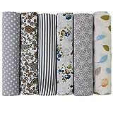 UOOOM 6pcs 50 x 50 cm, diseño de retales algodón Tejido DIY hecho a mano Costura Quilting tela diseños diferentes (Gris)