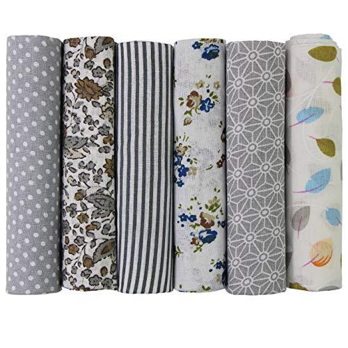 UOOOM 6 Stueck 50 x 50cm Stoffpakete Patchwork Stoffe Baumwolle Tuch DIY Handgefertigte Nähen Quilten Stoff Baumwollgewebe Verschiedene Designs (Grau)