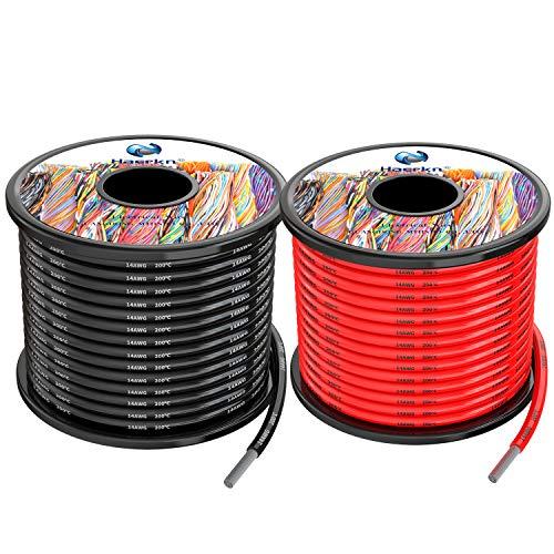 2.0 mm² Cable eléctrico de silicona de 20Metros [negro 10M rojo 10M] 14awg de cables de conexión Cable de cobre estañado trenzado sin oxígeno Resistencia a altas temperaturas