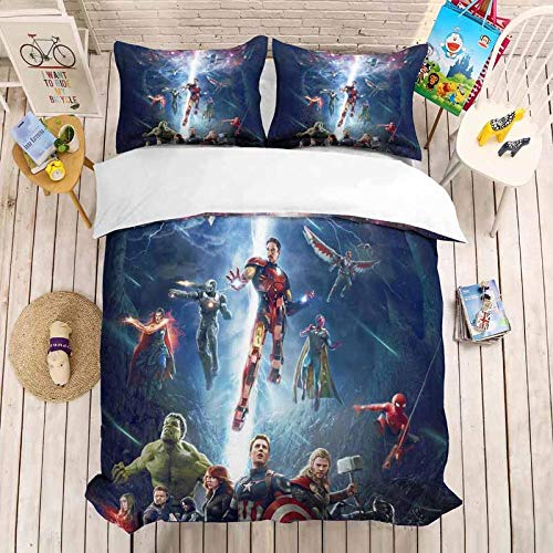 DTBDWOSY 3Pcs Duvet Cover King 220X230 Cm Movie Characters Boys 3D Print Quilt Cover Girls Comfortable Quilt Cover Breathable Skin-Friendly Bedding Set With 2 Pillowcase