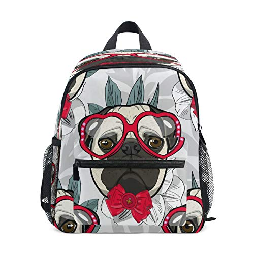 LILIFE Animal Dog Red Bow Kids Backpacks Book Bag Water Resistant Elementary School Bags with Chest Clip Travel Hiking Rucksack Snack Diapers Daypack for Children Boys Girls