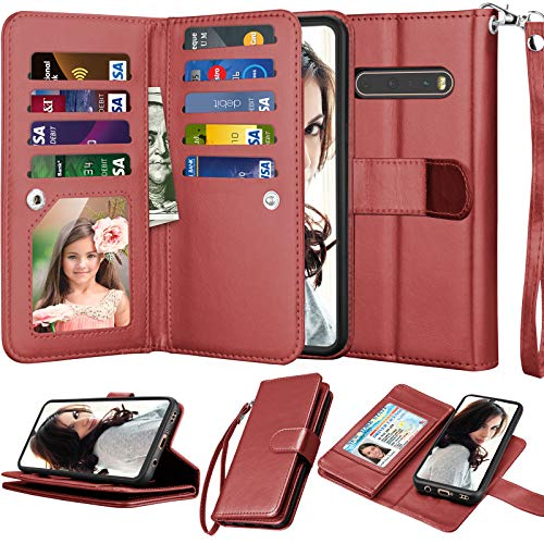 Njjex Kompatibel mit LG V60 ThinQ 5G Hülle/LG G9 ThinQ/LG V60 ThinQ Wallet Hülle, [9 Kartenfächer] PU Leder ID Credit Holder Folio Flip [Abnehmbar] Kickstand Magnetic Phone Cover und Lanyard [Weinrot]