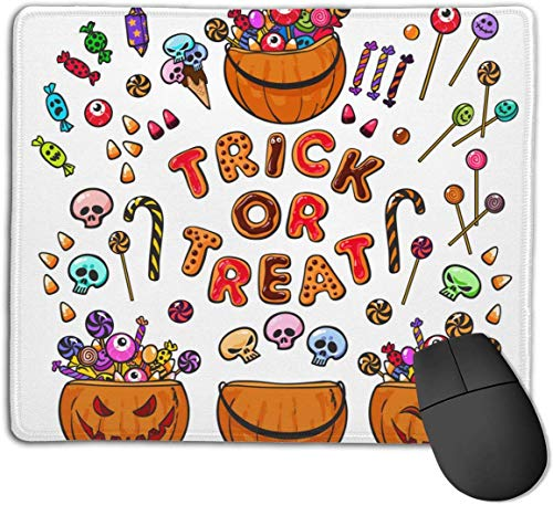 HJJL Mauspad Mousepad Anti-SlipBig Set of Cartoon Halloween Pumpkins Candies and Mouse Pad Mat Mice Mousepad Desktop Mouse pad Laptop Mouse pad Gaming Mouse pad 9.84x 11.8 inches.
