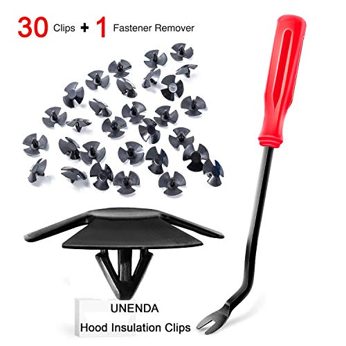 UNENDA 30pcs Hood Insulation Retainers with Fastener Remover - for Chrysler, Jeep, Dodge, Ram - Replace OEM 4878883AA LH LHS Nylon Clip