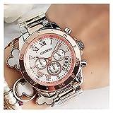 Moda Relojes de las mujeres Ginebra Famosas Relojes de oro de la moda para damas Reloj de cuarzo femenino ocasional para mujer Reloj de pulsera de mujer para mujeres ( Color : Rose gold silver )