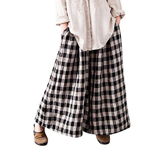 Sunenjoy Pantalon Large Jambes Fluides pour Femmes Confortable Elastiqué Coton Lin Yoga Pants Palazzo Sarouel Carreaux Chic Mode