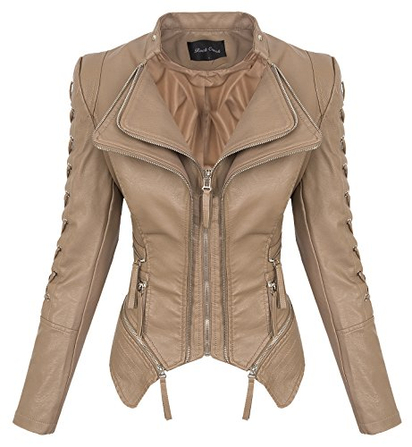 Rock Creek Damen Kunstleder Jacke Übergangs Jacke Leder Optik Bikerjacke D-365 [WS-967 Brown M]