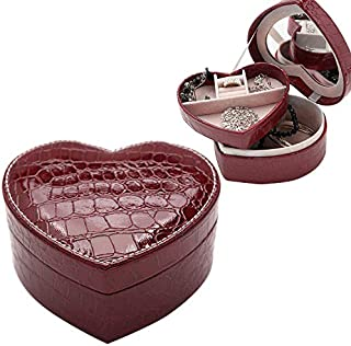 New Home Storage Two-Layer Heart Shape Small Jewelry Box Synthetic Leather Rings and Earrings Mirrored Travel Storage Cas...