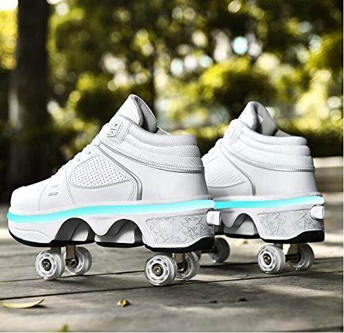 XRDSHY Schuhe Mit Rollen Multifunktionale Rollschuh Verstellbare Roller Skates for Jungen Und Madchen Unsichtbare Skateboard Kinderschuhe,White high-top lamp-36