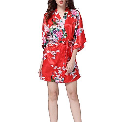 Villavivi Abito Vestito Pigiama Kimono Accappatoio Stampa Pavone Maniche Medie Per Femmine Donna Ragazza (M:Busto 112cm, Lunghezza 82cm, Rosso)