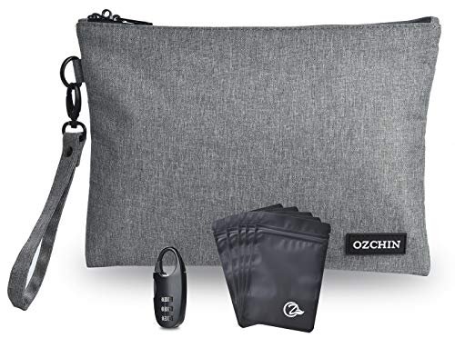 OZCHIN Smell Proof Bags 2020 New Odor Proof Bag Pouch Storage Case 11 x 8 inch with Combination Lock (Grey)