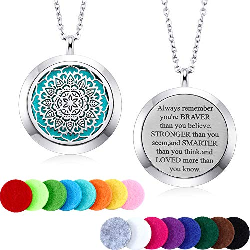 Mtlee Aromatherapy Essential Oil Diffuser Necklace Locket Pendant Stainless Steel Perfume Necklace with 16 Refill Pads and 24 inch Adjustable Chain (Flower)