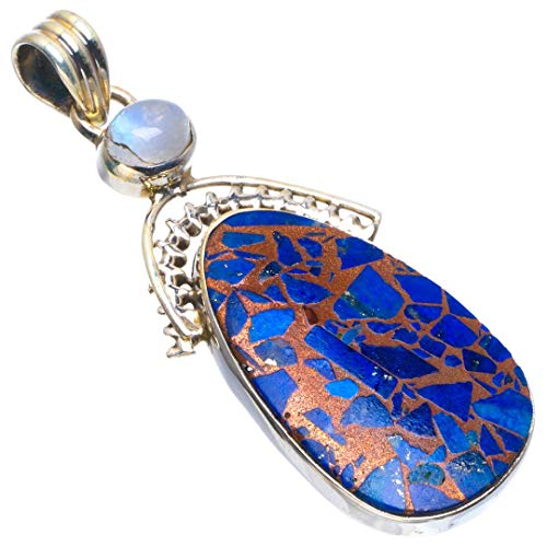 Natural Copper Turquoise and Rainbow Moonstone Handmade Unique 925 Sterling Silver Pendant 2' B3536