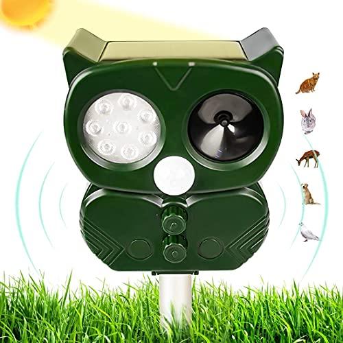 Aipcotch Ultraschall Katzenschreck Tiervertreiber Solar Abwehr mit LED- Blinken und Schallalarm, Wiederaufladbare Wasserstrahl Tiervertreiber für Garten (L)