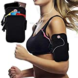 PLAY HARD Outdoor Sports Armband, Sweatproof Running Armbag Casual Arm Package Bag Gym Fitness Cell Phone Bag Key Holder (Black)