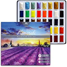 Komorebi Premium Japanese Watercolor Paint Set – 40 Rich Colors – Include Solid, Metallic and Neon Water Colors – Artist Quality – Perfect for Adults, Students, Hobbyists – MozArt Supplies