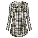 Camicetta Donna, ITISME T Shirt a Manica Lunga Donna Chic Casual Stampato Plaid V-Neck Sleeve Lattice rotolato Stampa Zipper Pocket 2019 Nuovi Prodotti Vendita !!!