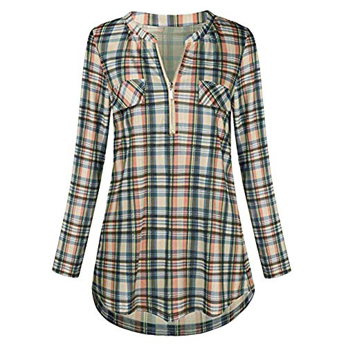 Lazzboy Women's Checkered Plaid Tartan Short Sleeve Half-Zip Shirt ,4XL(18),Yellow