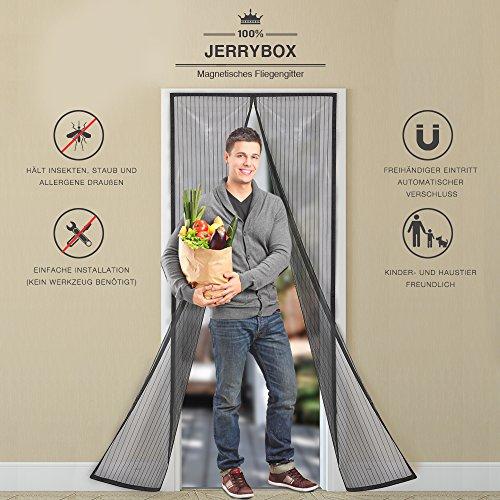 Jerrybox Zanzariera Magnetica per Porte, Dimensioni 110 x 220 cm, Si Adatta a Porte di 104 cm, Rete di Ottima Qualità, Tenda Zanzariera per Porte d'Ingresso, Porte, Cortili