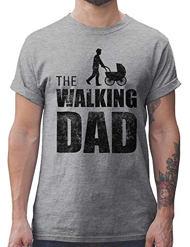 Shirtracer The Walking Dad Herren T-Shirt und Männer Tshirt (L, Grau Meliert)